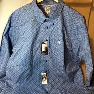 Cinch Mens Blue Long Sleeve Button Down Shirt XXL